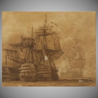 Maritime Watercolor by William Knell Depicting Defeat of Spanish Armada