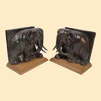 "Pair Art Deco Bronze Elephant Bookends - 7""x 7""x 4"""