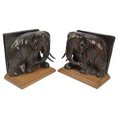 Pair Art Deco Bronze Elephant Bookends