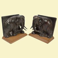 "Pair Art Deco Bronze Elephant Bookends - 7""x 7""x 4"""