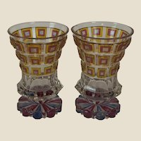 "Pair of Egermann Bohemian Cut-to-clear Glass Beakers, 5 3/8"" x 3 5/8"""