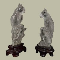 Pair of Chinese Carved Rock Crystal Parrots On Stand