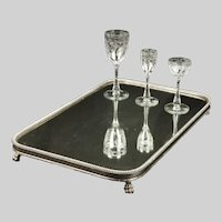 English Regency Silver-Plated Paw- Footed Mirrored Plateau C. 1825