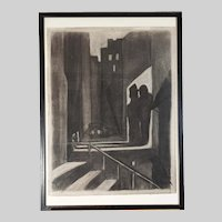 """""""The Getaway""""  original Austrian Expressionist charcoal drawing by Carry Hauser 21 1/4"""" x 29 1/4"""""""