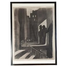 """The Getaway""  original Austrian Expressionist charcoal drawing by Carry Hauser 21 1/4"" x 29 1/4"""