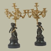 """Pair of Large Antique Gilt & Bronze French Candelabra - 26""""x22"""""""