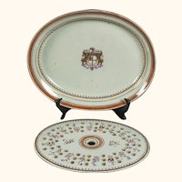 """Qing Chinese Export Armorial Dish for British East India Company, 15""""x13""""x2"""""""