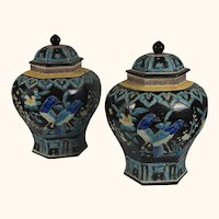 """Pair Chinese Fahua Enameled Covered Urns, 17""""x12"""""""