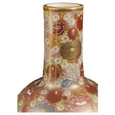 "Japanese Meiji Satsuma millefleur enameled gourd vase - 17"" x 8"""