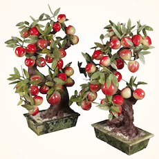 Pair of Chinese hardstone and jade peach trees