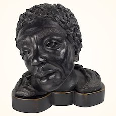 Antique 19th c. Venetian Painted Plaster Bust of Othello the Moor