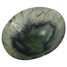 Small Chinese Natural Veined Blue-green Flourite Offering Bowl