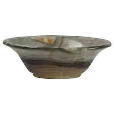 Gray-green, Amber-brown, Highly Figured Flourite Bowl