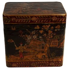 Vintage English Victorian Style Japanned Wood Box