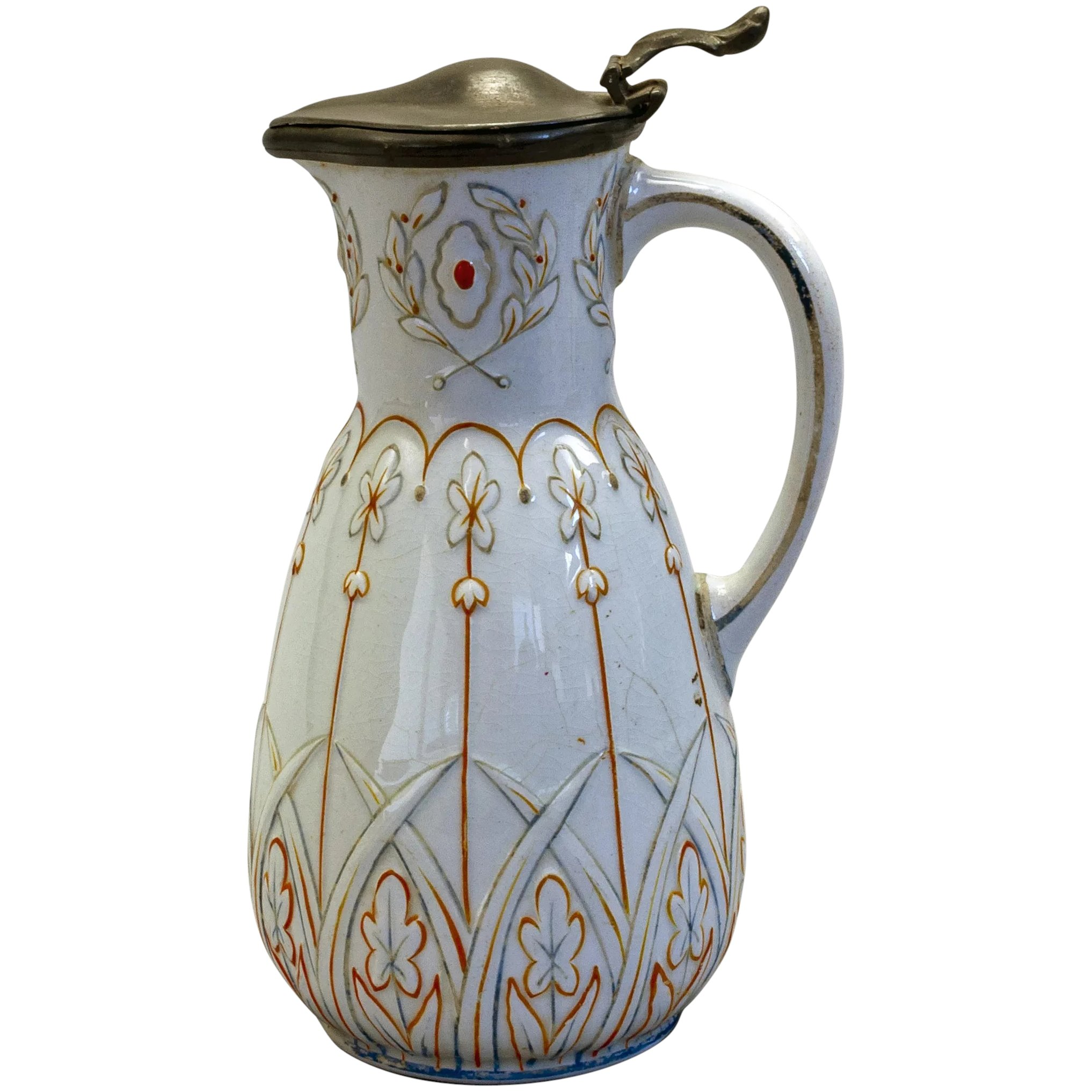 Victorian Pewter Lidded Ceramic Syrup Pitcher Hand Decorated over Transferware c.1870/'s