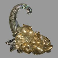 "Venetian Murano glass iridescent & gold-fleck cornucopia 11""x8 1/2""x11"""