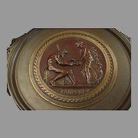 "Antique French Bronze Tazza of Pandora,  Ferdinand Levillain - 17 1/2"" x 4 1/2"""