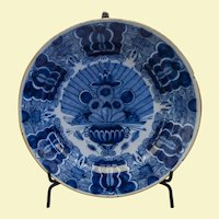 "Large Dutch Delft Charger - 18th c, - 14"" diameter"