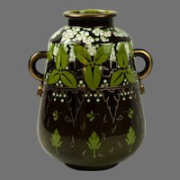 A Modernist French Luneville Faience Pottery Two-Handled Vase c.1910