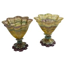 Pair Of Carved Purple Edge Yellow Flourite Compotes