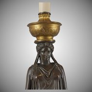 French classical bronze female on marble plinth, electrified, Barbedienne