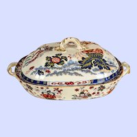 "Lovely Minton ""Amherst Japan"" covered tureen c. 1835  -  6"" x 9"" x 14 """