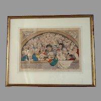 """Pigeon Hole"" English satirist Thomas Rowlandson hand-watercolored engraving, 10""x14"" image"