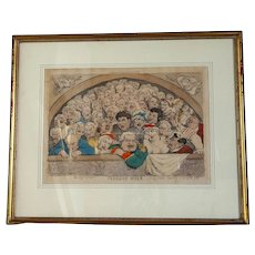 """Pigeon Hole"" English satirist Thomas Rowlandson hand-watercolored engraving, 10""x14"" image"