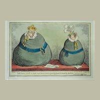 """Two Fat Sacks"" - a satirical engraving by George Cruickshank - 1820"