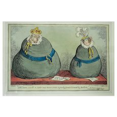 """Two Fat Sacks"" - a satirical engraving by George Cruickshank - 1820"