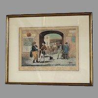 "G. Cruikshank: Anglo-Parisian Salutations-Hand-Colored Engraving 1822  9 3/4"" x 12 3/4"""
