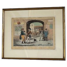 "G. Cruikshank: Anglo-Parisian Salutations-Hand-Colored Engraving 1822  9 3/4"" x 12 3/4"""