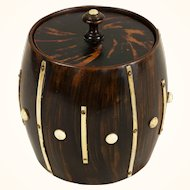 English George III Wood Treen Barrel-Form Faux Tortoise Humidor with Bone Accents c. 1800