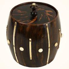 English George III Wood Treen Barrel-Form Faux Tortoise Humidor with Bone Accents c. 1800