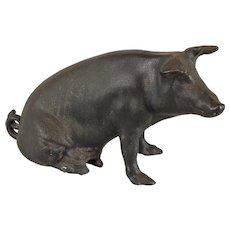 Huge vintage American cast iron piggy bank