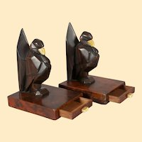 Art Deco Carved Wood Bookends in the form of Humorous Birds