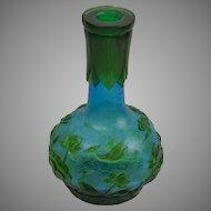 Green and blue Peking glass vase