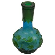Green and blue Peking glass vase