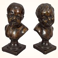 Pair of Bronze Busts of Crying Boy & Laughing Girl, after Houdon
