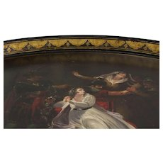 English Regency c. 1825 Black Painted and Gilded Tole Tray Portraying Mrs. Siddons As Lady Macbeth