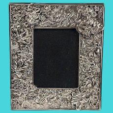 "Japanese Sterling Silver Picture Frame, Chrysanthemum Motif, 13""x11"""