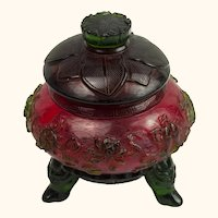 """Red and Green Peking Glass Covered Jar - 6.5"""" x  6.25"""""""