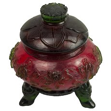 Red and Green Peking Glass Covered Jar