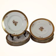 Set of 5 Royal Copenhagen soup bowls with underplates