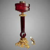 Large Antique Bohemian Ruby Glass Lamp with Gilt Bronze Mounts