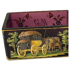 Bohemian Moser amethyst glass painted sugar box