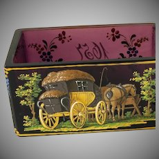 Bohemian amethyst glass painted box