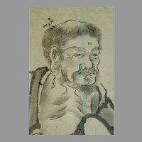 """Large Japanese ink drawing (sumi-e) of a traveling monk 57"""" H x 25 1/2"""" W"""