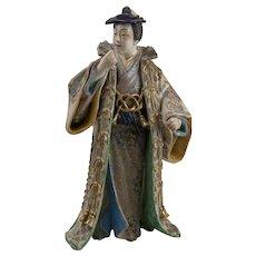 Japanese 19th c. Ko-Kutani figure of a beautifully robed male Kabuki theater actor