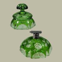 Emerald Green Stevens & Williams Partial Dresser Set